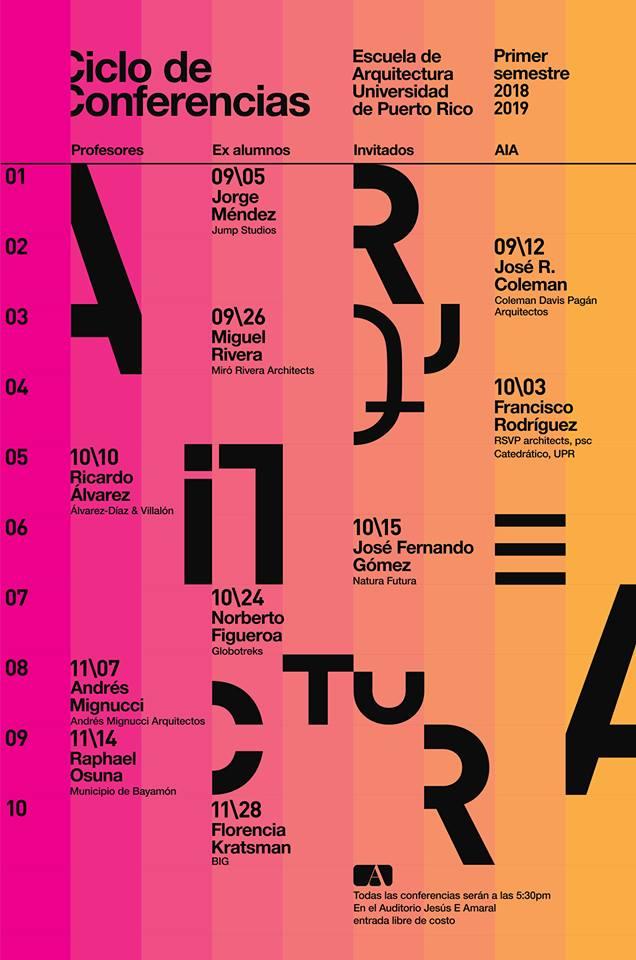 Poster del calendario de Ciclo de Conferencias a darse el semestre 2018-2019