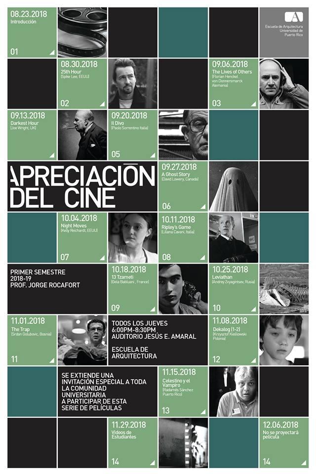 Poster de promocion al calendario de peliculas del curso de Apreciación del Arte Cinematográfico del profesor J. Rocafort
