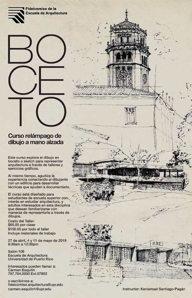 Imagen de poster sobre curso de Boceto, por el Fideicomiso de la Escuela de Arquitectura