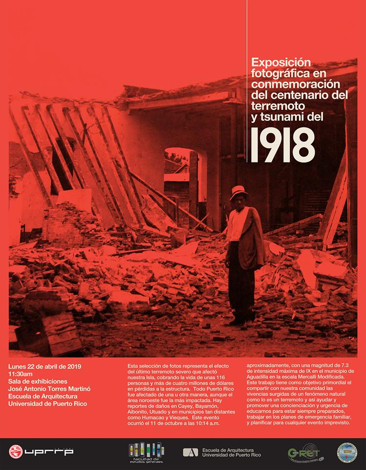 Imagen de poster sobre exposicion fotografica en conmemoracion del centenario del terremoto y tsunami del 1918